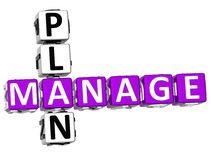 3D Manage Plan Crossword. Over white background Stock Images