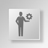 3D manager Button Icon Concept Stock Afbeelding