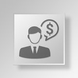 3D manager Button Icon Concept Stock Foto