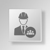 3D manageringenieur Button Icon Concept Stock Illustratie