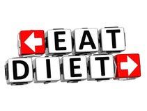 3D mangiano il bottone di dieta cliccano qui il testo del blocco Immagini Stock