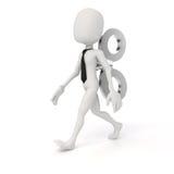 3d Mann mit einem großen Schlüssel auf der Rückseite, Leistungsfähigkeit im Geschäftskonzept Stockfoto