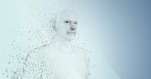 3D mannetje gaf binaire code tegen blauwe achtergrond gestalte Stock Afbeeldingen