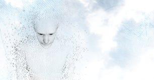 3D mannetje gaf binaire code tegen hemel en wolken gestalte Royalty-vrije Stock Afbeeldingen
