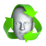 3d Mans head with recycle symbols. 3d render of a mans surrounded by recycle arrows Stock Photography