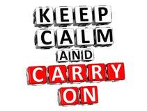 3D mantêm a calma e o texto do bloco de Carry On Button Click Here Imagens de Stock