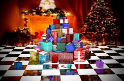 3D Many Christmas gifts near the Christmas tree stock illustration