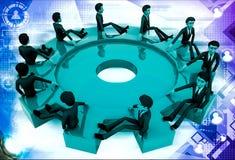3d many men sitting on big cogwheel illustration Royalty Free Stock Photos