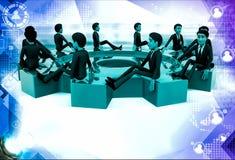 3d many men sitting on big cogwheel illustration Stock Photo