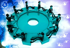 3d many men sitting on big cogwheel illustration Royalty Free Stock Images