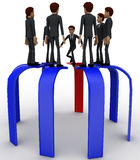 3d many men standing on arrows concept Stock Photography