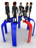 3d many men standing on arrows concept Stock Photo