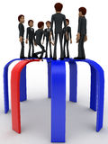 3d many men standing on arrows concept Stock Images