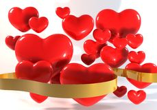 3d many Red Heart with Gold Ribbon. 3 Dimensional Graphics rendering about love concept, still life isolated render at high resolution on a white background Stock Photos