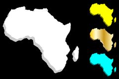 3D map of Africa. Continent - white, gold, blue and yellow - vector illustration Royalty Free Stock Photo