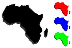 3D map of Africa. Continent - black, red, blue and green - vector illustration Royalty Free Stock Photography