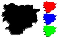 3D map of Andorra. Principality of the Valleys of Andorra - black, blue and green - vector illustration stock illustration