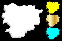 3D map of Andorra. Principality of the Valleys of Andorra - white, blue and gold - vector illustration royalty free illustration