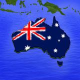 3D map of Australia painted in the colors of Australian flag. Illustration of stylized jell. 3D map of Australia painted in the colors of Australian flag Royalty Free Stock Images