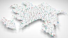3D Map of Azerbaijan - Mosaic of little blocks Royalty Free Stock Photo
