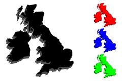 3D map of British Isles. United Kingdom of Great Britain and Northern Ireland, Republic of Ireland - black, red, blue and green - vector illustration vector illustration