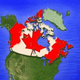 3D map of Canada painted in the colors of Canadian flag. Illustration of stylized jelly pie vector illustration