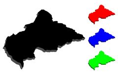3D map of Central African Republic. CAR - black, red, blue and green - vector illustration Stock Photography