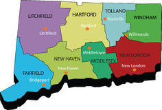 3d Map of Connecticut state. Designed in illustration with the counties Stock Photo