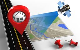 3d map. 3d illustration of map with home pin and red pins vector illustration