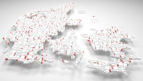 3D Map of Denmark - Europe. | 3d Rendering, mosaic of little bricks - White and flag colors Royalty Free Stock Image