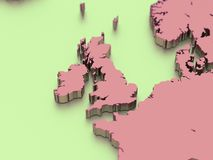 3D map of England. 3D illustration. stock illustration