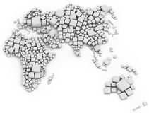 3d map of europe, asia and oceania made out of blocks. Made out of blocks on white background Stock Images