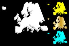 3D map of Europe. Continent - white, gold, blue and yellow - vector illustration Stock Images