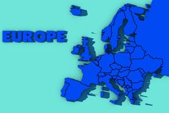 3d map of Europe. Cool blue  3d map of Europe Royalty Free Stock Images