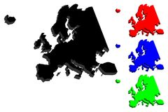3D map of Europe. Continent - black, red, blue and green - vector illustration Royalty Free Stock Image