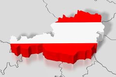 3D map, flag - Austria. 3D/ three-dimensional country map and flag - Austria Royalty Free Stock Images