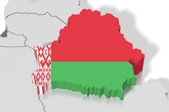 3D map, flag - Belarus Royalty Free Stock Photography