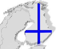 3D map, flag - Finland. 3D/ three-dimensional country map and flag - Finland Royalty Free Stock Image