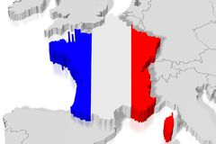 3D map, flag - France Stock Photo