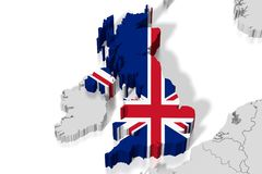 3D map, flag - Great Britain Royalty Free Stock Photography