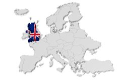 3D map, flag - Great Britain Stock Image