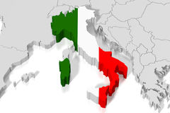 3D map, flag - Italy Royalty Free Stock Image