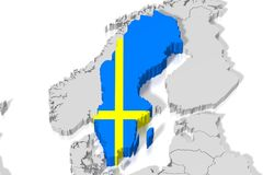 3D map, flag - Sweden Stock Photos