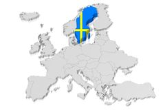3D map, flag - Sweden. 3D/ three-dimensional map of Europe and country map/ flag - Sweden Royalty Free Stock Images