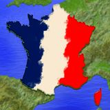 3D map of France painted in the colors of French flag. Illustration of stylized jelly pie vector illustration