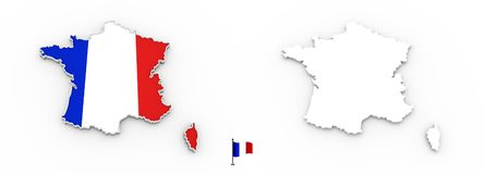 3D map of France white silhouette and flag vector illustration