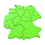 3D map of germany in green Royalty Free Stock Photography