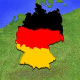 3D map of Germany painted in the colors of German flag. Illustration of stylized jelly pie Royalty Free Stock Images