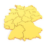 3D map of germany in yellow Stock Image