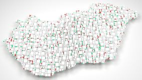3D Map of Hungary - Europe Stock Photo